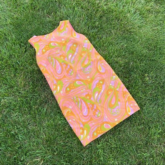 Vintage Dresses & Skirts - Vtg 50s 60s mood paisley shift dress sm md